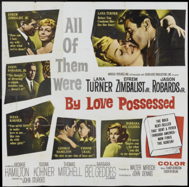 BY LOVE POSSESSED (1961) 4833 United Artists Original Six Sheet Poster (81x81).   Folded.   Never Used.  Fine Plus Condition.