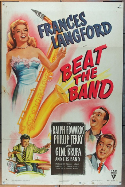 BEAT THE BAND (1947) 19462 RKO Original One Sheet Poster   27x41  Folded  Fine Condition
