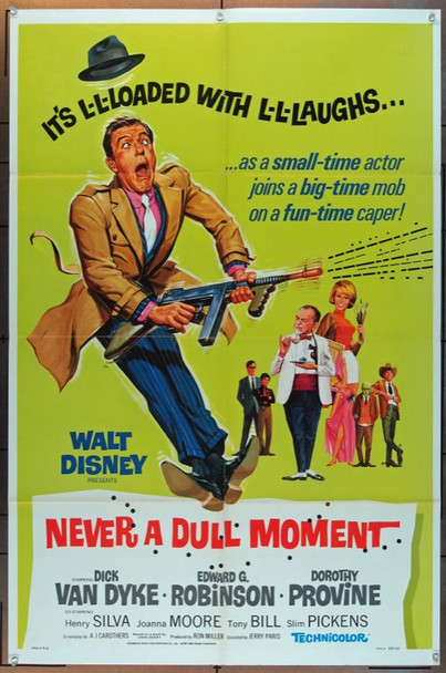 NEVER A DULL MOMENT (1968) 4988 Walt Disney Company One Sheet Poster   27x41  Folded.  Fine Plus Condition