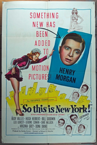 SO THIS IS NEW YORK (1948) 12673 Original United Artists One Sheet Poster (27x41).  Folded.  Fine Condition.