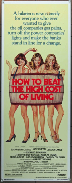 HOW TO BEAT THE HIGH COST OF LIVING (1980) 1053 American International Original Insert Card Poster    14x36  Very Fine Plus  Rolled