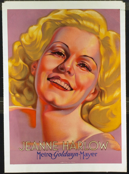 JEAN HARLOW (1933) &7233 MGM French Star Portrait   24x32   Good Condition  Restored
