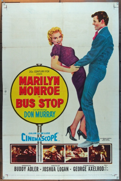 BUS STOP (1956) 13998 Original 20th Century Fox One Sheet Poster (27x41).  Folded.  Very Fine.