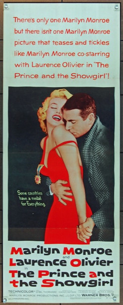 PRINCE AND THE SHOWGIRL, THE (1957) 13994 Warner Brothers Original Insert Poster (14x36).  Folded.   Very Fine