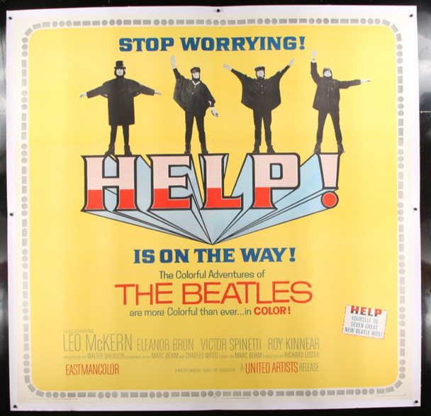HELP! (1965) 25299 United Artists Original Six Sheet Poster  81x81  Linen backed   Very Fine