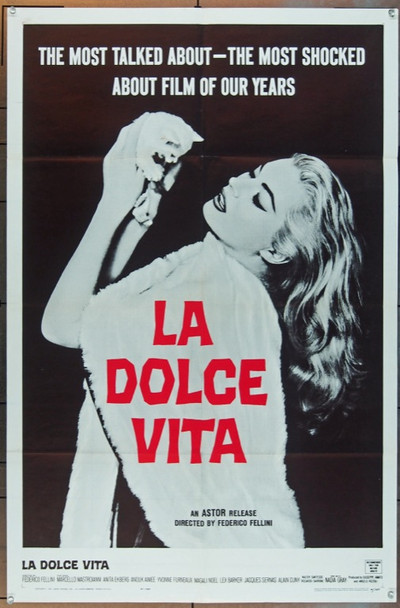 LA DOLCE VITA (1961) 25283 Original Astor Pictures One Sheet Poster (27x41).  Folded.  Very Fine Condition.