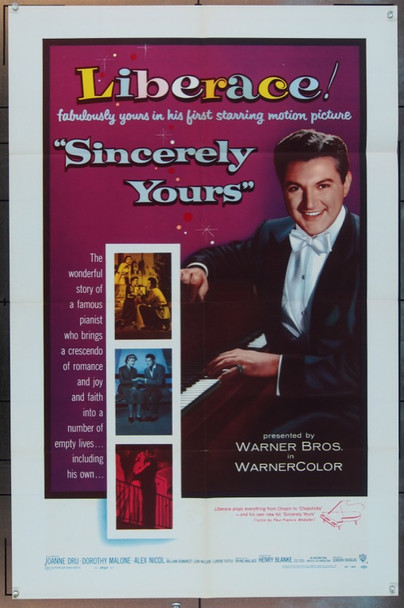 SINCERELY YOURS (1955) 2430 Original Warner Brothers One Sheet Poster (27x41).  Folded.  Very Fine.