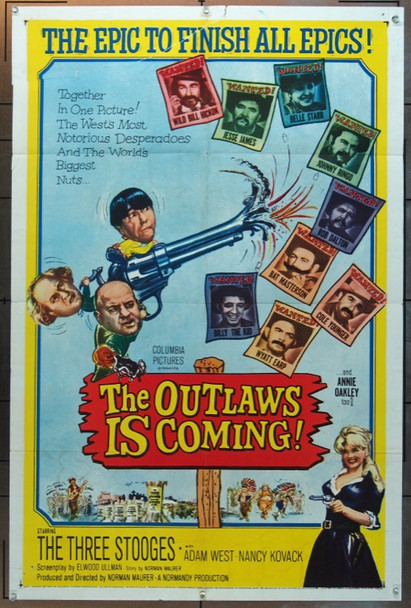 OUTLAWS IS COMING!, THE (1965) 11483 Original Columbia Pictures One Sheet Poster (27x41).  Folded.  Fine Condition.