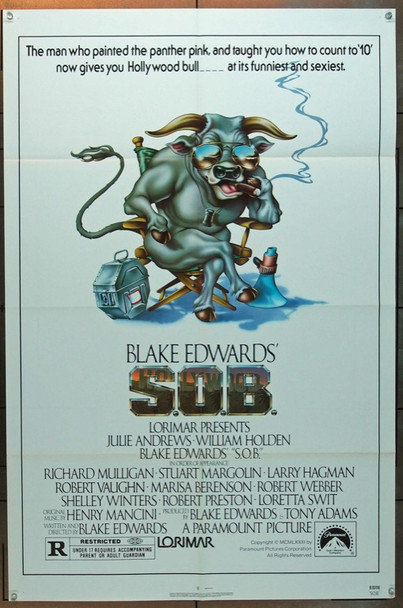 S.O.B. (1981) 3175 Original Paramount Pictures One Sheet Poster (27x41).  Folded.  Very Fine Condition.