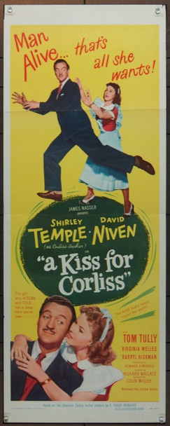 KISS FOR CORLISS, A (1949) 5529 Original United Artists Insert Poster (14x36).  Folded.  Fine Plus Condition.