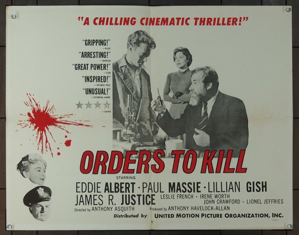 ORDERS TO KILL (1958) 5533 Original United Motion Pictures Organization Half Sheet Poster (22x28).  Folded.  Very Good Condition.