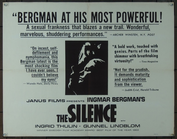 SILENCE, THE (1963) 5539 Original Janus Films Half Sheet Poster (22x28).  Folded.  Fine Plus Condition.