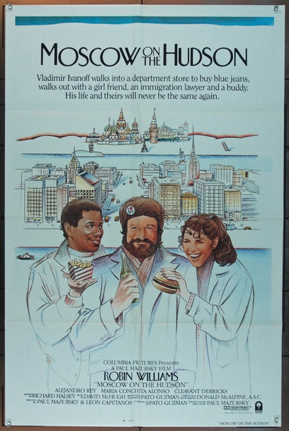 MOSCOW ON THE HUDSON (1984) 3241 Original Columbia Pictures One Sheet Poster (27x41).  Folded.  Very Fine Condition.