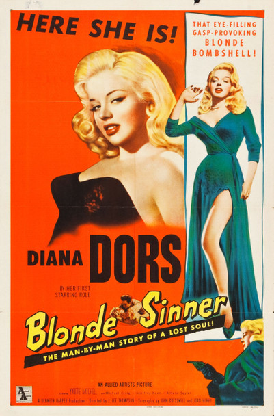 BLONDE SINNER (1956) 25493 Allied Artists Original One Sheet Poster  (27x41).  Folded.  Fine to Very Fine