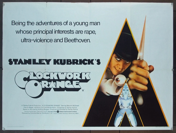 CLOCKWORK ORANGE, A (1972) 25509 Warner Brothers Original British Quad Poster   30x40  Folded.  Fine Plus Condition