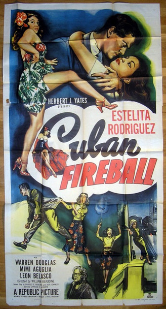 CUBAN FIREBALL (1951) 14585 Republic Original Three Sheet Poster   41x81  Folded   Good Condition