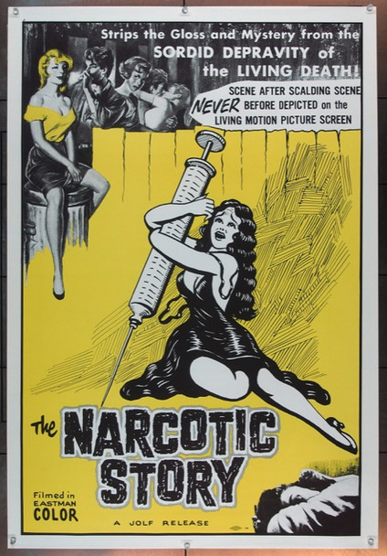 NARCOTICS STORY, THE (1958) 16228 Original Harry Stern One Sheet Poster (27x41).  Folded.  Very Fine Condition.