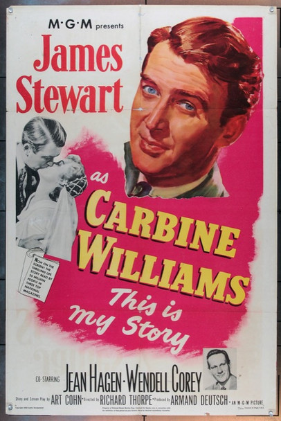 CARBINE WILLIAMS (1952) 2105 Original MGM One Sheet Poster (27x41).  Folded.  Very Good Conditiion.