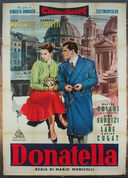 DONATELLA (1956) 14320 Original Sudefilm Italian 2-Foglio Poster (39x55).  Older Linen. Angelo Cesselon Art.  Very Good To Fine Condition.
