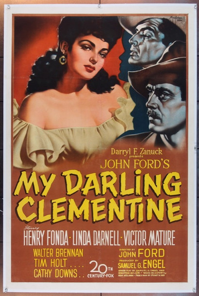 MY DARLING CLEMENTINE (1946) 25506 20th Century Fox Original One Sheet Poster   27x41  Very Fine  Linen Backed