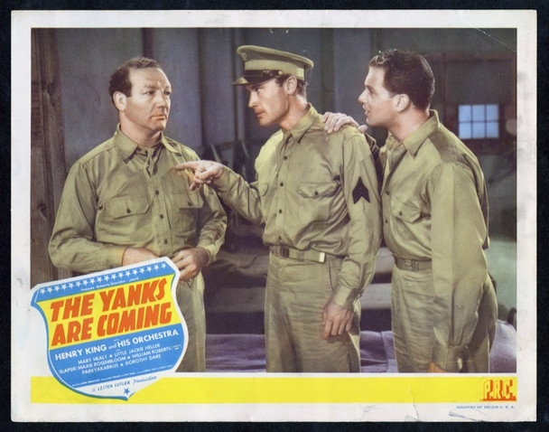 YANKS ARE COMING,THE (1942) 14837 Original Producers Releasing Corporation Scene Lobby Card (11x14).  Fine Plus Condition.