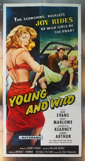 YOUNG AND WILD (1958) 15163 Republic Pictures Three Sheet Poster    41 x 81   Never used.  Very Fine Plus
