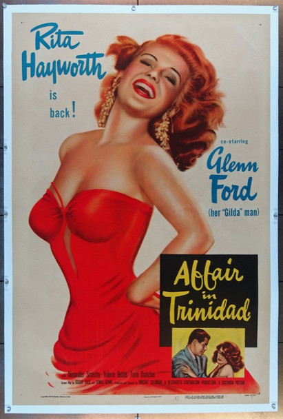 AFFAIR IN TRINIDAD (1952) 23068 Original Columbia Pictures Style A One Sheet Poster (27x41).  Linen-Backed.  Fine Plus Condition.
