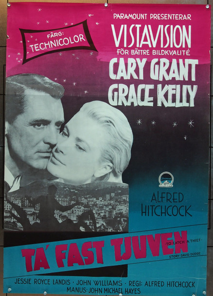 TO CATCH A THIEF (1955) 7269 Paramount Pictures Original Swedish Poster   27x39  Rolled