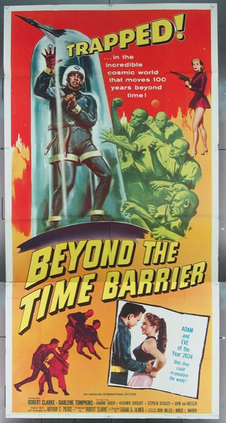 BEYOND THE TIME BARRIER (1959) 8622 American International Original Three Sheet Poster  Folded   41 x 81  Fine Condition
