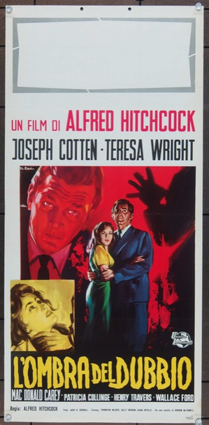 SHADOW OF A DOUBT (1943) 25395 Universal Pictures Italian 14x28 Locandina  Re-release of 1962  Art by Franco Picchioni