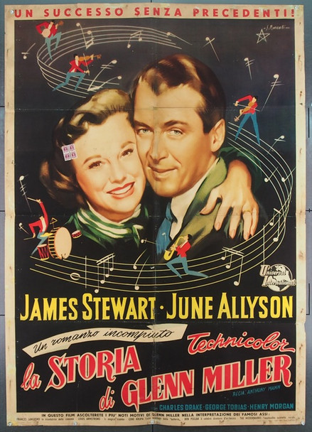 GLENN MILLER STORY, THE (1954) 25536 Universal Pictures Original Italian Two Foglio  38x55  Folded.  Very Good
