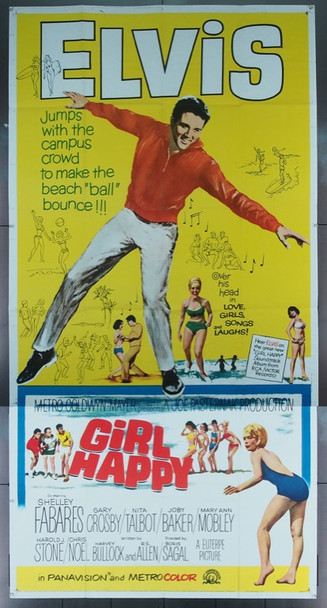 GIRL HAPPY (1965) 7601 Original MGM Three Sheet Poster (41x81).  Folded.  Very Fine Condition.