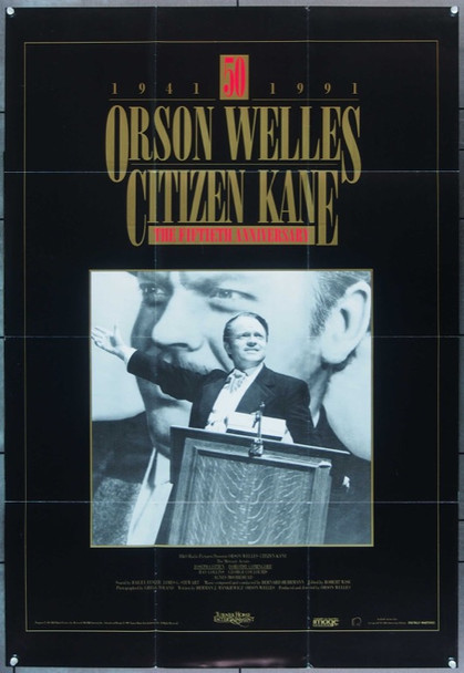 CITIZEN KANE (1941) 16435 Turner Home Entertainment Video Release Poster (27x39)  50th Anniversary 1991.  Folded.  Very Fine.