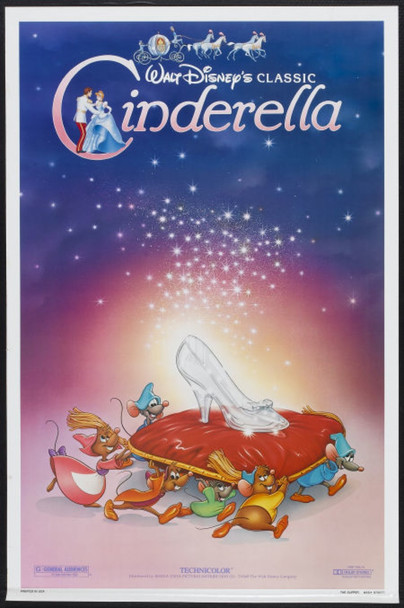 CINDERELLA (1950) 264 Disney Company One Sheet Poster  27x41 Rolled  Very Fine Condition
