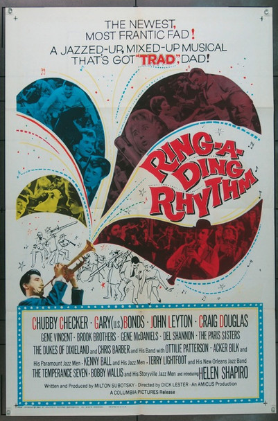 RING-A-DING RHYTHM (1962) 16463 Columbia Pictures Original One-Sheet Poster  (27x41) Folded  Fine Plus Condition.