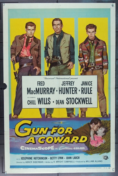 GUN FOR A COWARD (1956) 16574 Universal Pictures Original One Sheet Poster  27x41 Folded.  Very Good Condition
