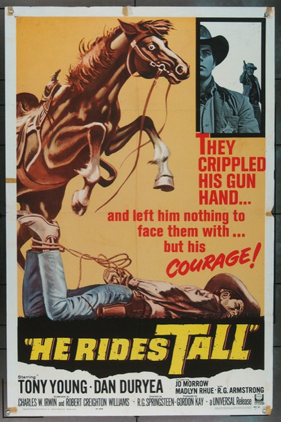 HE RIDES TALL (1964) 16577 Universal Pictures Original One Sheet Poster   27x41  Folded  Good Condition