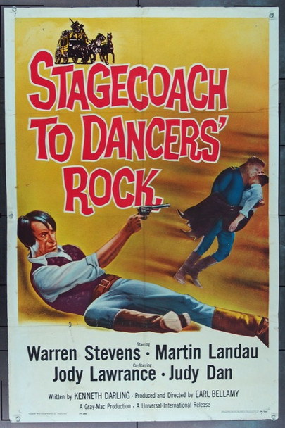 STAGECOACH TO DANCERS' ROCK (1962) 16563 Universal-International Original One Sheet Poster   27x41  Folded  Very Good Condition