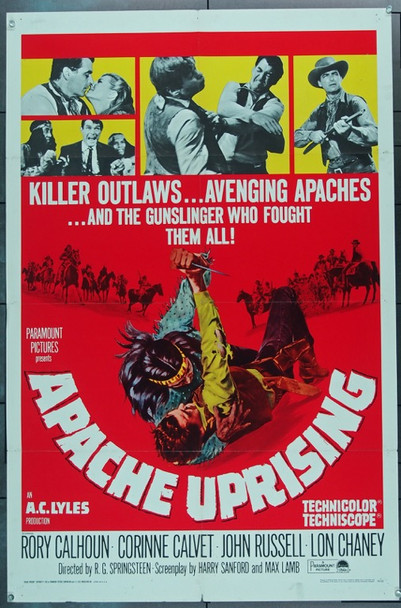 APACHE UPRISING (1966) 16555 Paramount Pictures Original One Sheet Poster   27x41  Folded  Fine Condition