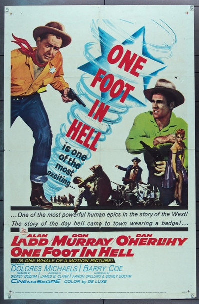 ONE FOOT IN HELL (1960) 16561 20th Century Fox Original One Sheet Poster   27x41  Folded.  Good Condition