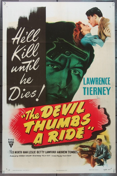 DEVIL THUMBS A RIDE, THE (1947) 16475 Original RKO One Sheet Poster (27x41).  Folded.  Very Fine Condition.