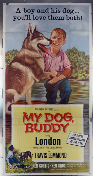 MY DOG, BUDDY (1960) 17542 Columbia Pictures Original Three Sheet Poster (41x81).   Folded.  Very Good Theater-Used Condition