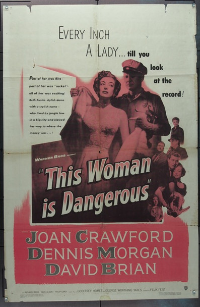 THIS WOMAN IS DANGEROUS (1952) 2305 Warner Brothers Original One Sheet Poster   27x41  Folded.  Good to Very Good Condition