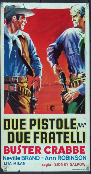 GUN BROTHERS (1956) 25568 Italian Poster   13 3/4 inches by 24 1/2 inches   Folded.  Very Fine
