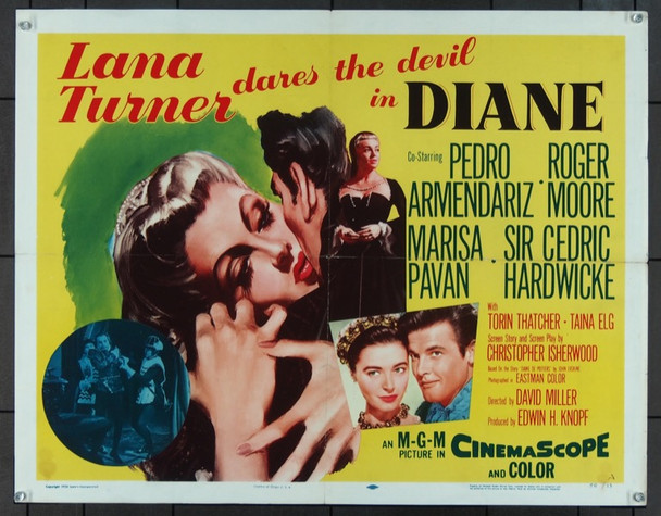 DIANE (1956) 17774 Original MGM Style A Half Sheet Poster (22x28).  Folded.  Fine Condition.