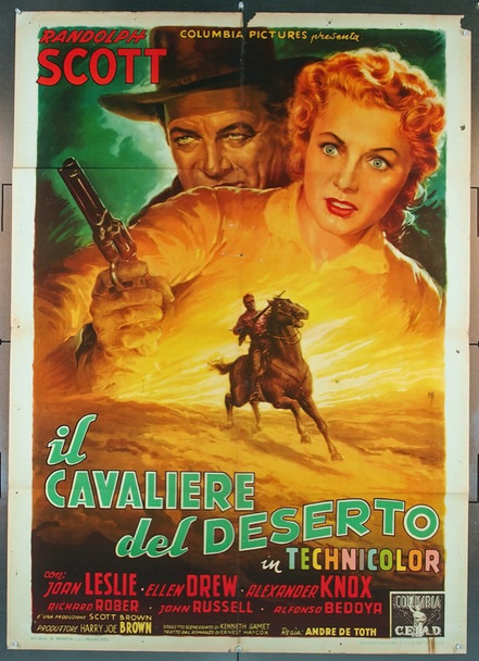 MAN IN THE SADDLE (1951) 25476 Original Italian 2-Foglio  39x55  Folded  Fine Plus Condition