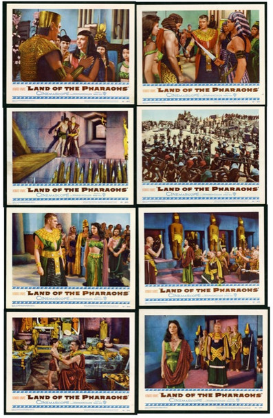 LAND OF THE PHARAOHS (1955) 16492 Original Warner Brothers Original Complete Set of 8 Lobby Cards (11x14).   Very Fine To Very Fine Plus.