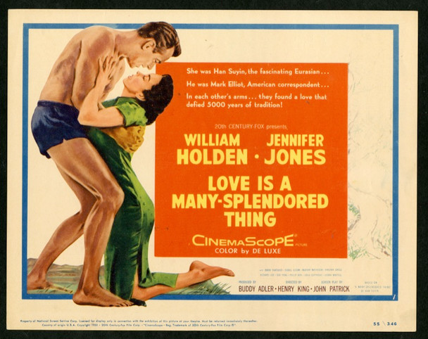 LOVE IS A MANY SPLENDORED THING (1955) 16491 20th Century Fox Original U.S. Title Card  11x14  Very Fine Condition