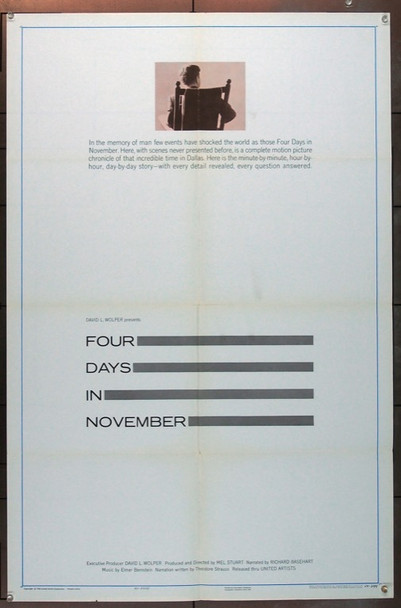 FOUR DAYS IN NOVEMBER (1964) 14834 Original United Artists One Sheet Poster (27x41).  Folded.  Fine Plus Condition.