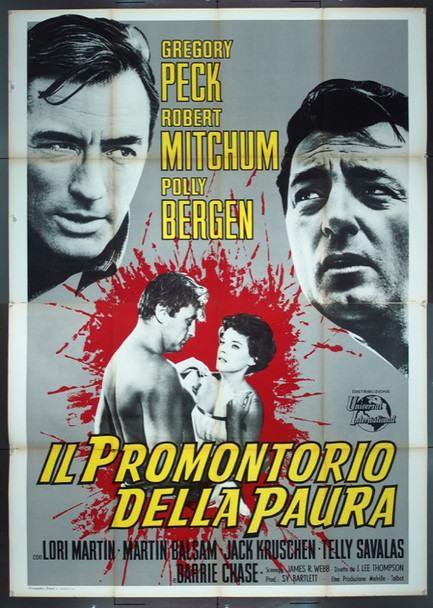 CAPE FEAR (1962) 25541 Original Italian 4 Fogli Poster (55x79).  Folded.  Very Fine Plus Condition.